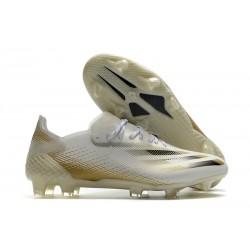 Botas Adidas X Ghosted.1 FG Blanco Negro Dorado Metalizado Jaspeado
