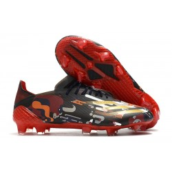 Botas de fútbol Adidas X Ghosted.1 FG Negro Rojo Oro