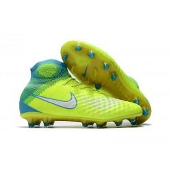 Nuevo Botas de fútbol Nike Magista Obra 2 FG Volt Blanco Azul cloro