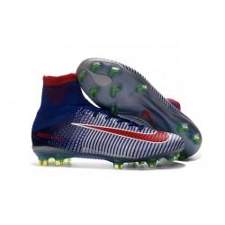 Botas de fútbol de hombre Mercurial Superfly FG Azul Blanco Rojo