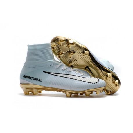 486f6d0fbff Botas de fútbol Nike Mercurial Superfly V CR7 FG CR7 Blanco Oro Negro