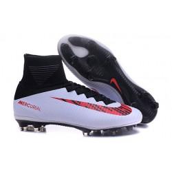 Botas de fútbol de hombre Mercurial Superfly FG Negro Blanco Rojo