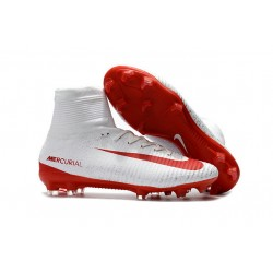 Zapatilla Nike Mercurial Superfly V CR7 FG Blanco Rojo