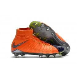 Botas de fútbol Nike HyperVenom Phantom III DF FG Para Hombre Azul Royal Cromo Carmesí total