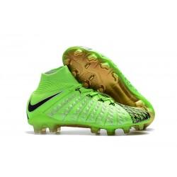 Botas de fútbol Nike HyperVenom Phantom III DF FG Para Hombre EA Verde Negro Oro