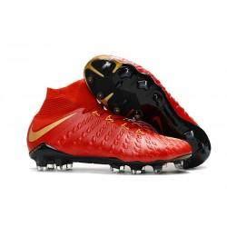 Baratas Botas de fútbol Nike HyperVenom Phantom III DF FG Rojo Oro