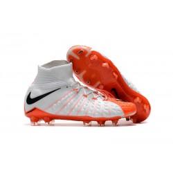 Baratas Botas de fútbol Nike HyperVenom Phantom III DF FG Blanco Naranja Negro