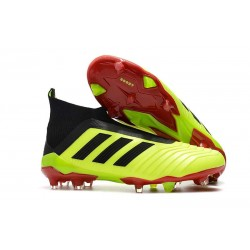 Zapatillas de fútbol adidas Predator 18+ FG - Volt Negro Rojo