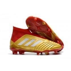 Zapatillas de fútbol adidas Predator 18+ FG - Oro Rojo Blanco