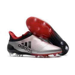 2018 Botas de fútbol Adidas X 17+ Purespeed FG Plateado Rojo Negro
