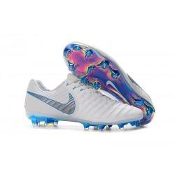 Zapatillas de Fútbol Nike Tiempo Legend VII Elite FG Blanco Gris Azul