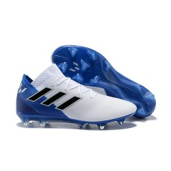 Baratas Botas de fútbol Adidas Nemeziz Messi 18.1 FG Blanco Azul