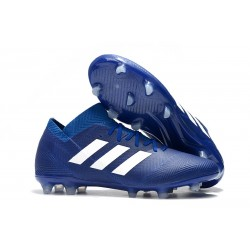 Baratas Botas de fútbol Adidas Nemeziz Messi 18.1 FG Azul Blanco
