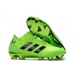 Baratas Botas de fútbol Adidas Nemeziz Messi 18.1 FG Verde Eléctrico Negro Lima