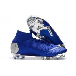 Nueva Zapatillas de fútbol 2018 Nike Mercurial Superfly VI 360 Elite CR7 FG Azul Dorado Blanco
