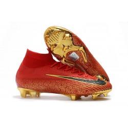 Tacos Botas Futbol Nike Mercurial Superfly VI 360 Elite FG Oro Negro Rojo