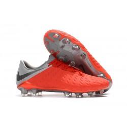 Zapatillas de fútbol Nike HyperVenom Phantom III FG Para Hombre Rojo Gris