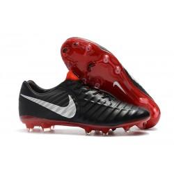 Botas de fútbol Nike Tiempo Legend VII FG Negro Rojo Plata