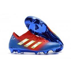 Baratas Botas de fútbol Adidas Nemeziz Messi 18.1 FG Rojo Azul Plata