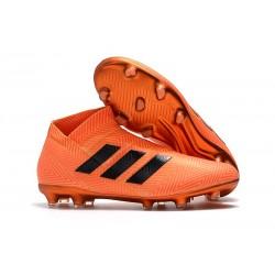 Botines Futbol adidas - Zapatos de fútbol Nemeziz 18+ FG - Negro Naranja