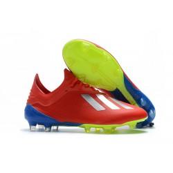 Botas de fútbol Adidas X 18.1 FG Para Hombre Plata Rojo