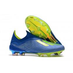 Botas de fútbol adidas X 18+ FG Fútbol Azul Solar Amarillo Núcleo Negro
