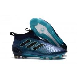 Calzado De Fútbol Ace 17+ Purecontrol Terreno Firm Azul Negro