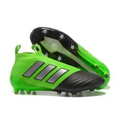 Calzado De Fútbol Ace 17+ Purecontrol Terreno Firm Verde Negro Plata