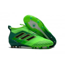 Calzado De Fútbol Ace 17+ Purecontrol Terreno Firm Verde Negro