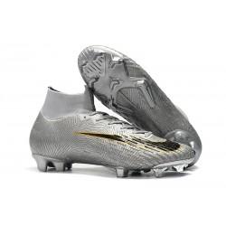 Nike Mercurial Superfly 6 Elite FG Zapatos de Fútbol - Plata Negro