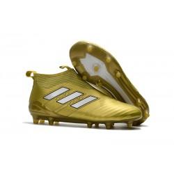 Calzado De Fútbol Ace 17+ Purecontrol Terreno Firm Oro Blanco