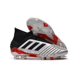 Zapatillas de fútbol adidas Predator 19.1 FG Plata Negro Rojo