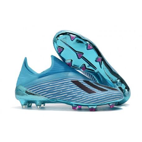 Botas de fútbol Nuevo Adidas X 19+ FG Cian Brillante Negro