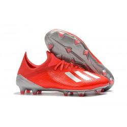 Botas de Fútbol Adidas X 19.1 FG Rojo Plata