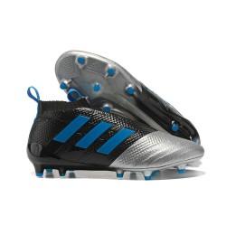 Calzado De Fútbol Ace 17+ Purecontrol Terreno Firm Negro Plata Azul