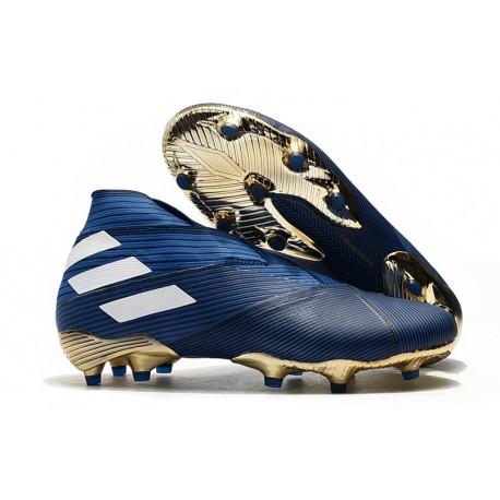 Zapatos de Fútbol adidas Nemeziz 19+ FG - Azul Blanco Negro