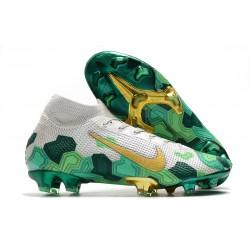 Mbappe Nike Mercurial Superfly VII Elite SE FG Gris Dorado Metalizado Verde