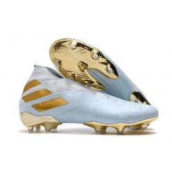 Zapatos de Fútbol adidas Nemeziz 19+ FG -Agua/Dorado metalizado /Blanco