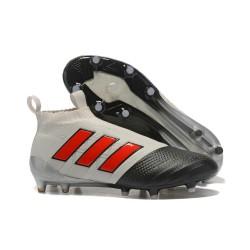 Calzado De Fútbol Ace 17+ Purecontrol Terreno Firm Gris Rojo Negro