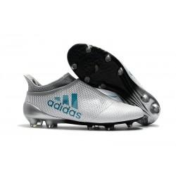 Zapatillas de fútbol Adidas X 17+ Purespeed FG Blanco Azul Gris