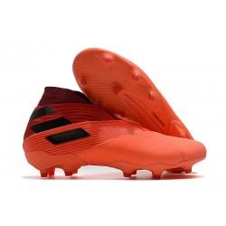 adidas Tacos de Futbol Nemeziz 19+ FG - Signal Coral Negro Rojo Gloria