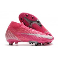 Zapatos Nike Mercurial-Superfly 7 Elite AG x Mbappé Rosa Blanco Negro