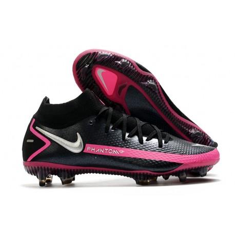 Botas fútbol Nike Phantom GT Elite DF FG Negro Plateado Explosión Rosa