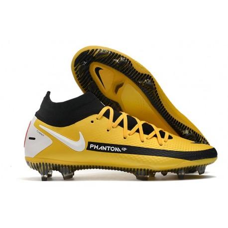 Botas de fútbol Nike Phantom GT Elite DF FG Amarillo Negro Blanco
