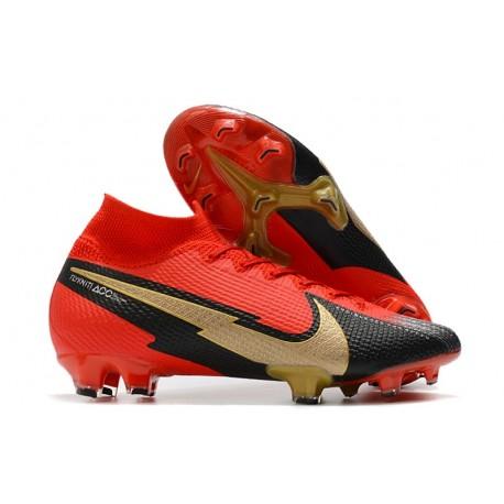 Nike Botas Mercurial Superfly 7 Elite FG Rojo Negro Blanco