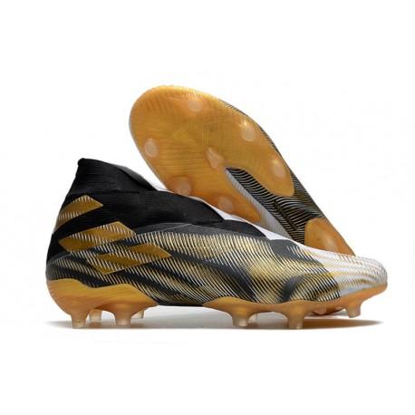 adidas Tacos de Futbol Nemeziz 19+ FG - Blanco Dorado Metalizado Negro